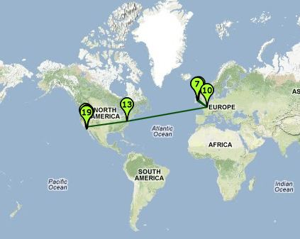 Esther's Email Map - showing email originated in Europe - probably through a proxy since she says she is in Ghana
