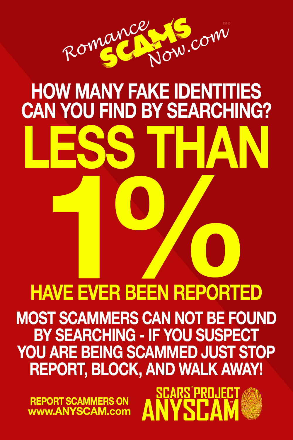 SCARS ™ / RSN™ Anti-Scam Poster: Less Than 1% 10