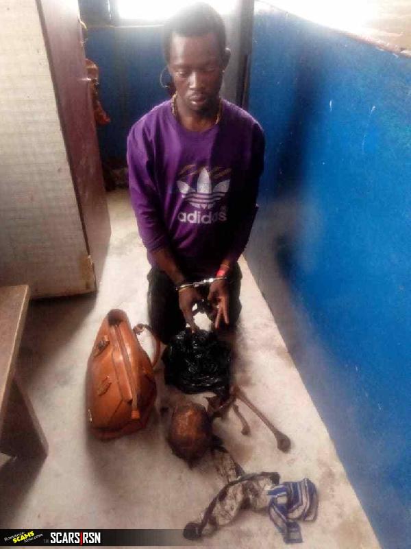 Sakawa boy caught at Gomoa Cemetery exhuming skull, bones - Samuel Dzamesi is in the custody of the police