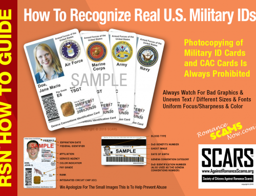 SCARS ™ / RSN™ Anti-Scam Poster: Recognize Real U.S. Military IDs