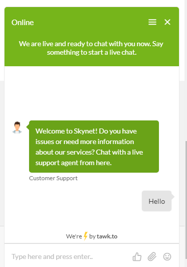 SkyNet Chatbot - Neven Had Anyone Answer Us