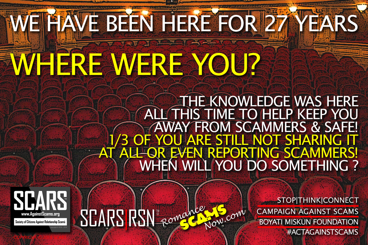 SCARS|RSN™ Anti-Scam Poster: Where Were You? 3