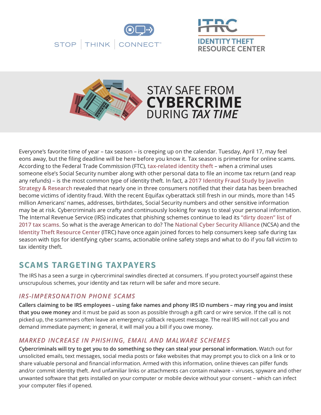 Stay Safe During Tax Time - SCARS™ Insight 1