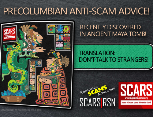 Precolumbian Anti-Scam Advice – Don't Talk To Strangers – SCARS|RSN™ Anti-Scam Poster