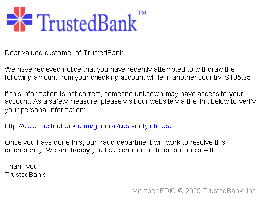 Typical Phishing Email