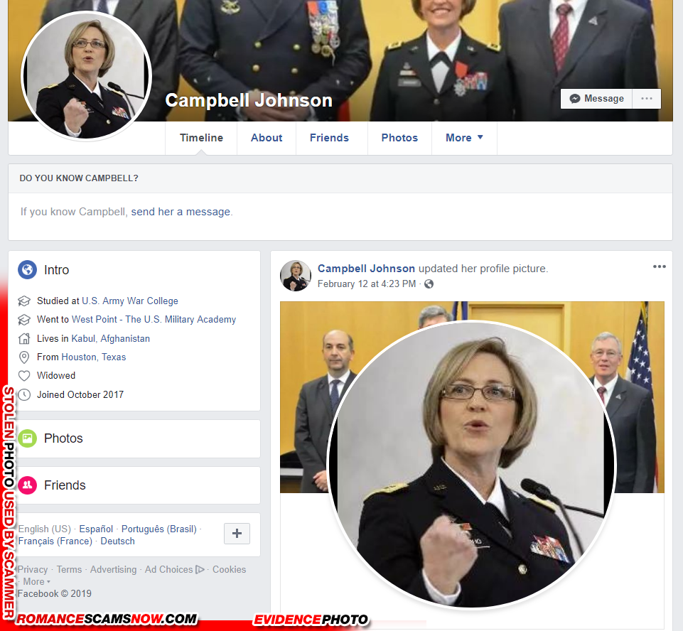 Campbell Joseph a fake Facebook profile with stolen photos from Lt General Patricia D. Horoho