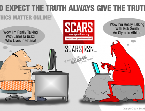 Telling The Truth And Online Ethics Matter – SCARS|RSN™ Anti-Scam Poster