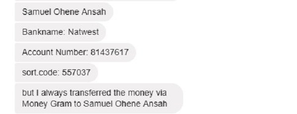 New Money Transfer Instructions From The Scammer