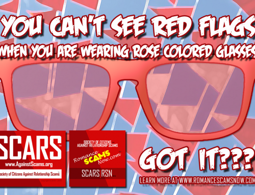 You Can't See Red Flags Wearing Rose Colored Glasses – SCARS|RSN™ Anti-Scam Poster