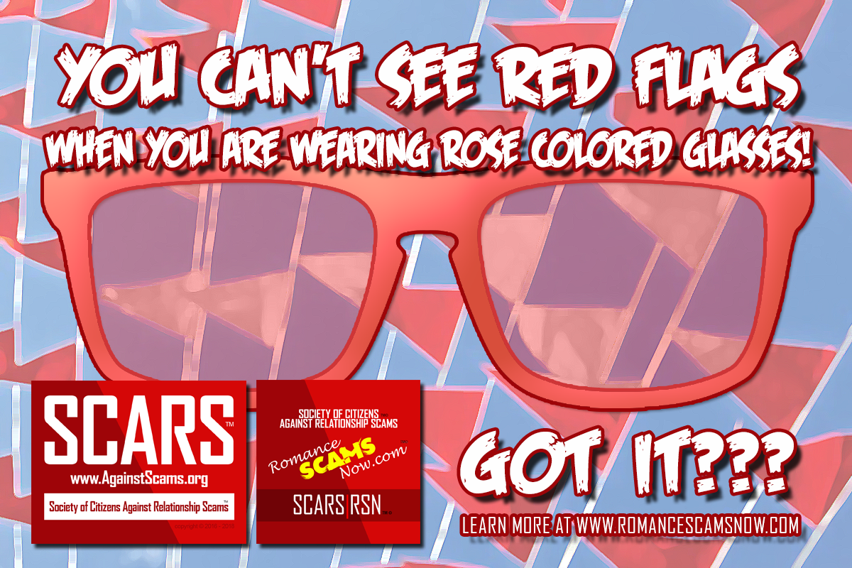 You Can't See Red Flags Wearing Rose Colored Glasses - SCARS|RSN™ Anti-Scam Poster 19