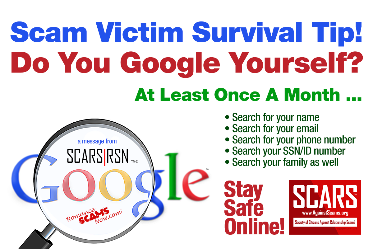 Google Yourself Monthly - SCARS|RSN™ Anti-Scam Poster 17