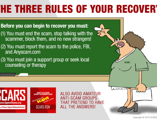 The SCARS Three Rules To Recover – SCARS|RSN™ Anti-Scam Poster