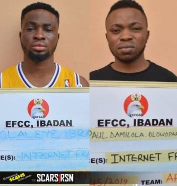 Scammers arrested: Bamidele Adegboyega (a.k.a Romona Clifford); Paul Damilola Olowoparija (a.k.a Kathleen Sandra Samuel and Olaleye Isreal (a.k.a Sandra Samuel Precious)