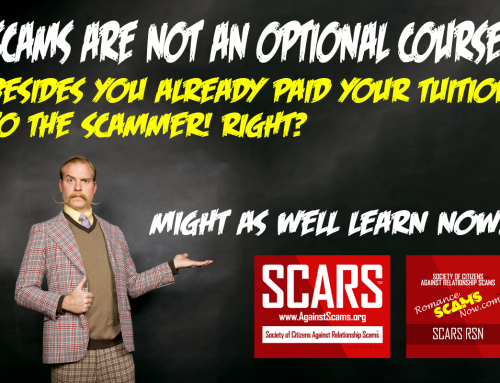 Learning Is Not An Option – SCARS|RSN™ Anti-Scam Poster