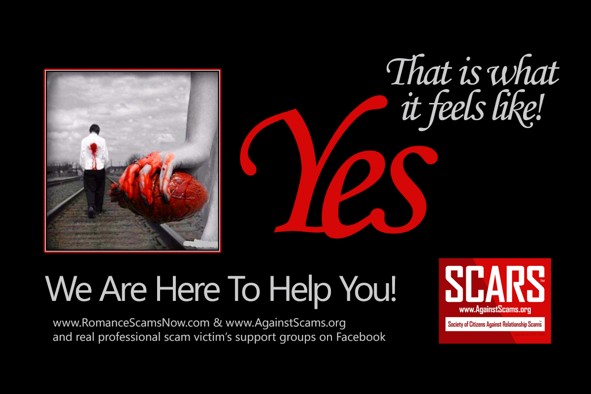This Is What A Romance Scam Feels Like - They Ripped Your Heart Out! - SCARS|RSN™ Anti-Scam Poster 2