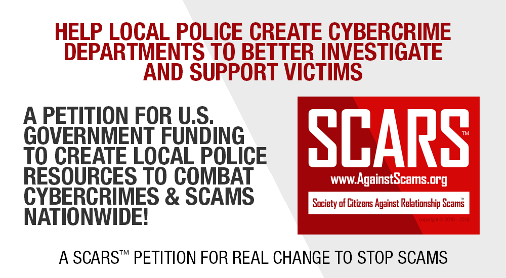 SCARS|RSN™ Advocacy: Local Law Enforcement Everywhere Needs Cybercrime Specialists On Staff - Help Stop Scams 100