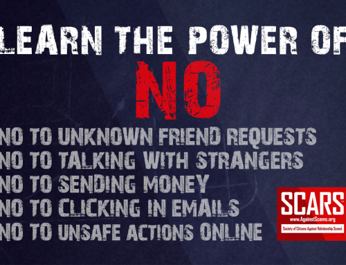 Learn The Power Of No – SCARS|RSN™ Anti-Scam Poster