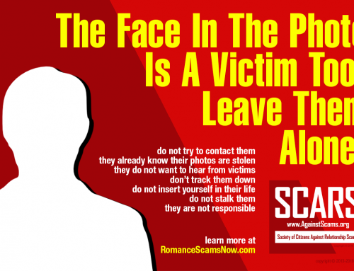 The Face In The Photo Is A Victim Too – SCARS|RSN™ Anti-Scam Poster