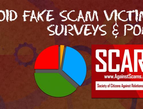 SCARS™ CAUTION: Fake Surveys Of Scam Victims