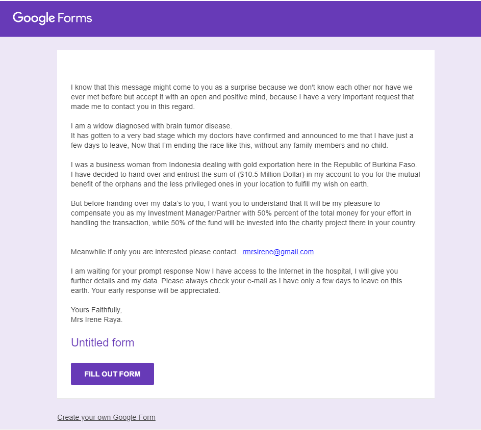 google form from scammer
